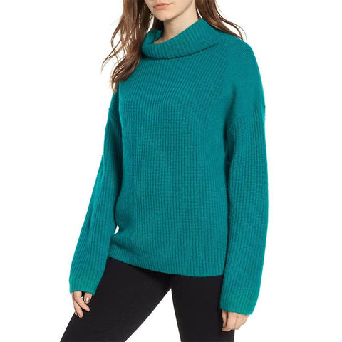 Image of Casual Pure Color Long   Sleeve High Neck Loose Sweater Green s