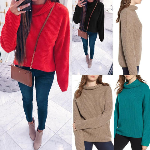 Image of Casual Pure Color Long   Sleeve High Neck Loose Sweater Black m