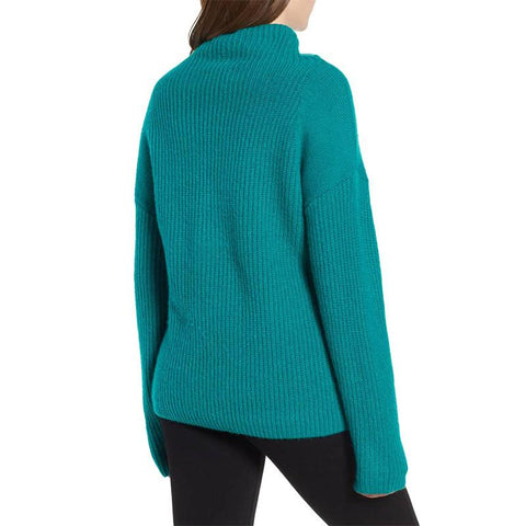 Image of Casual Pure Color Long   Sleeve High Neck Loose Sweater Green m