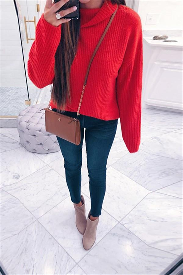 Casual Pure Color Long   Sleeve High Neck Loose Sweater Red s