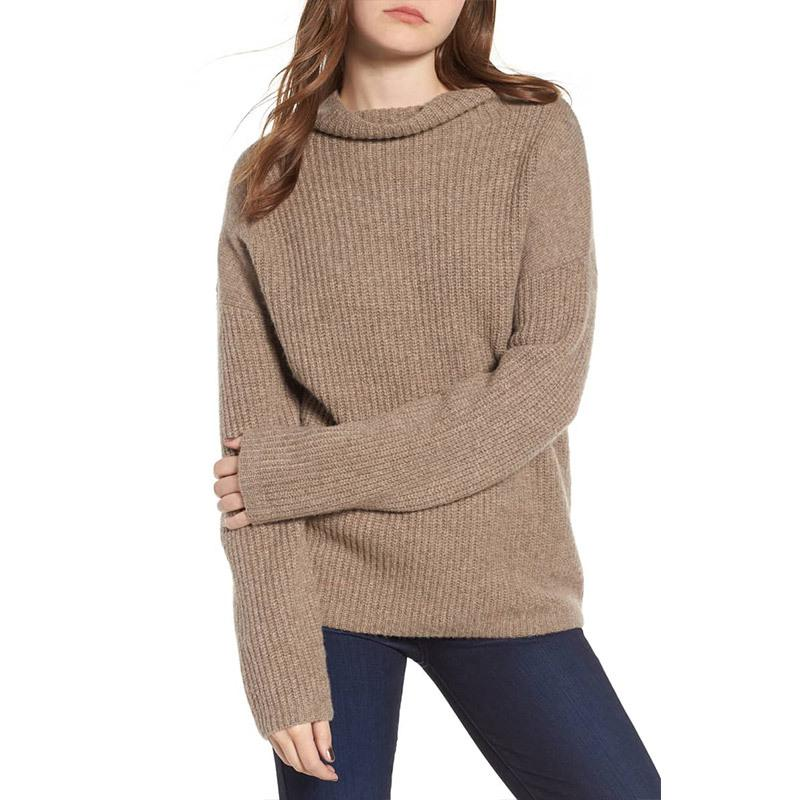 Casual Pure Color Long   Sleeve High Neck Loose Sweater Green l