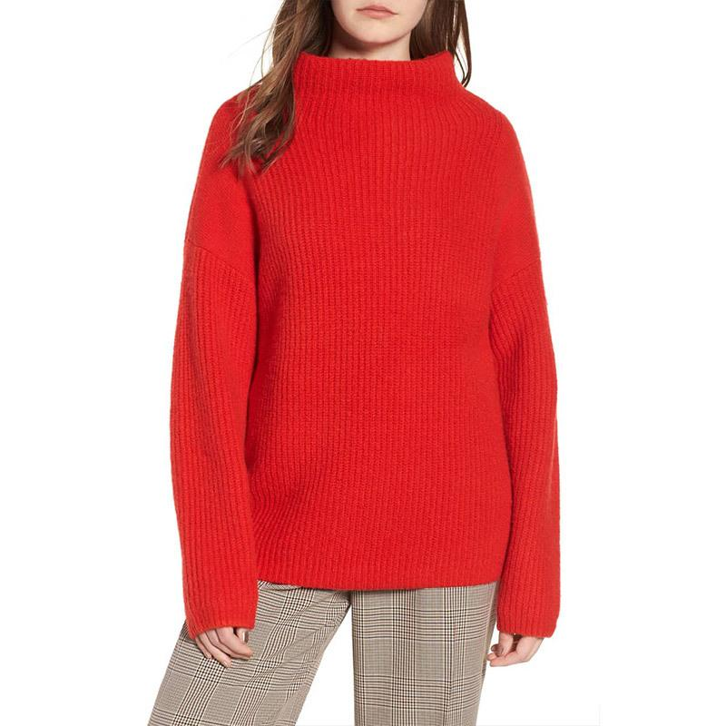 Casual Pure Color Long   Sleeve High Neck Loose Sweater Red l