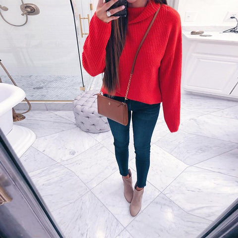 Image of Casual Pure Color Long   Sleeve High Neck Loose Sweater Red m