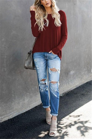 Image of Casual Pure Color Back Zipper Off Shoulder Long Sleeve Slim Sweater Claret s
