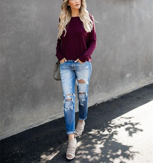 Casual Pure Color Back Zipper Off Shoulder Long Sleeve Slim Sweater Purple l