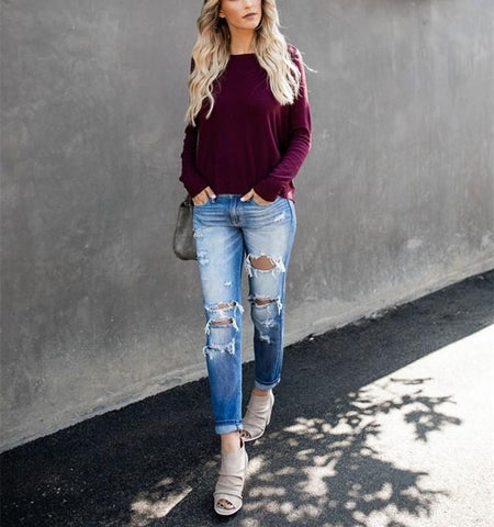 Image of Casual Pure Color Back Zipper Off Shoulder Long Sleeve Slim Sweater Purple l