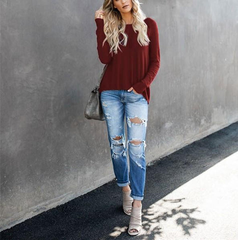Image of Casual Pure Color Back Zipper Off Shoulder Long Sleeve Slim Sweater Claret m