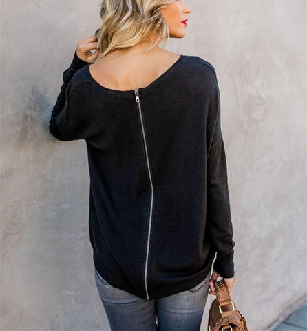 Image of Casual Pure Color Back Zipper Off Shoulder Long Sleeve Slim Sweater Gray s
