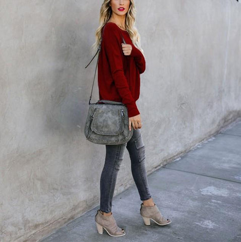 Image of Casual Pure Color Back Zipper Off Shoulder Long Sleeve Slim Sweater Claret l