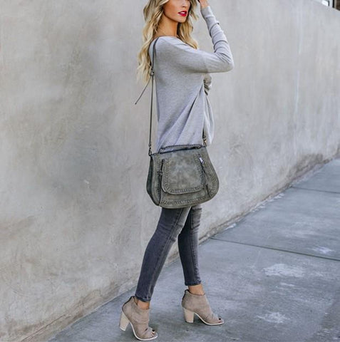 Image of Casual Pure Color Back Zipper Off Shoulder Long Sleeve Slim Sweater Gray l