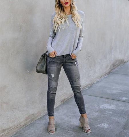Image of Casual Pure Color Back Zipper Off Shoulder Long Sleeve Slim Sweater Gray m