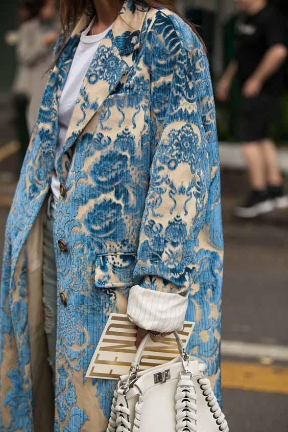 Floral Pattern Printed Long Sleeve Coat Same As Photo m
