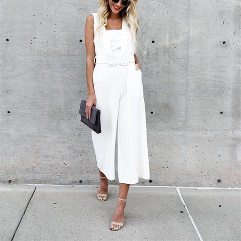 Image of Fashion Casual Sexy Sleeveless Backless Jumpsuits White m