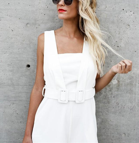 Image of Fashion Casual Sexy Sleeveless Backless Jumpsuits White l