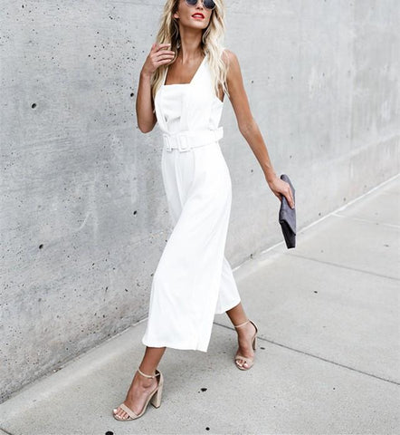 Image of Fashion Casual Sexy Sleeveless Backless Jumpsuits White xl