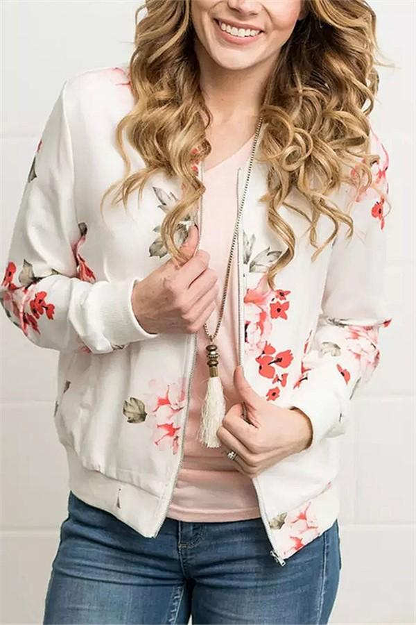 Fashion Casual Printed Bomber Jacket Loose Overcoat White s