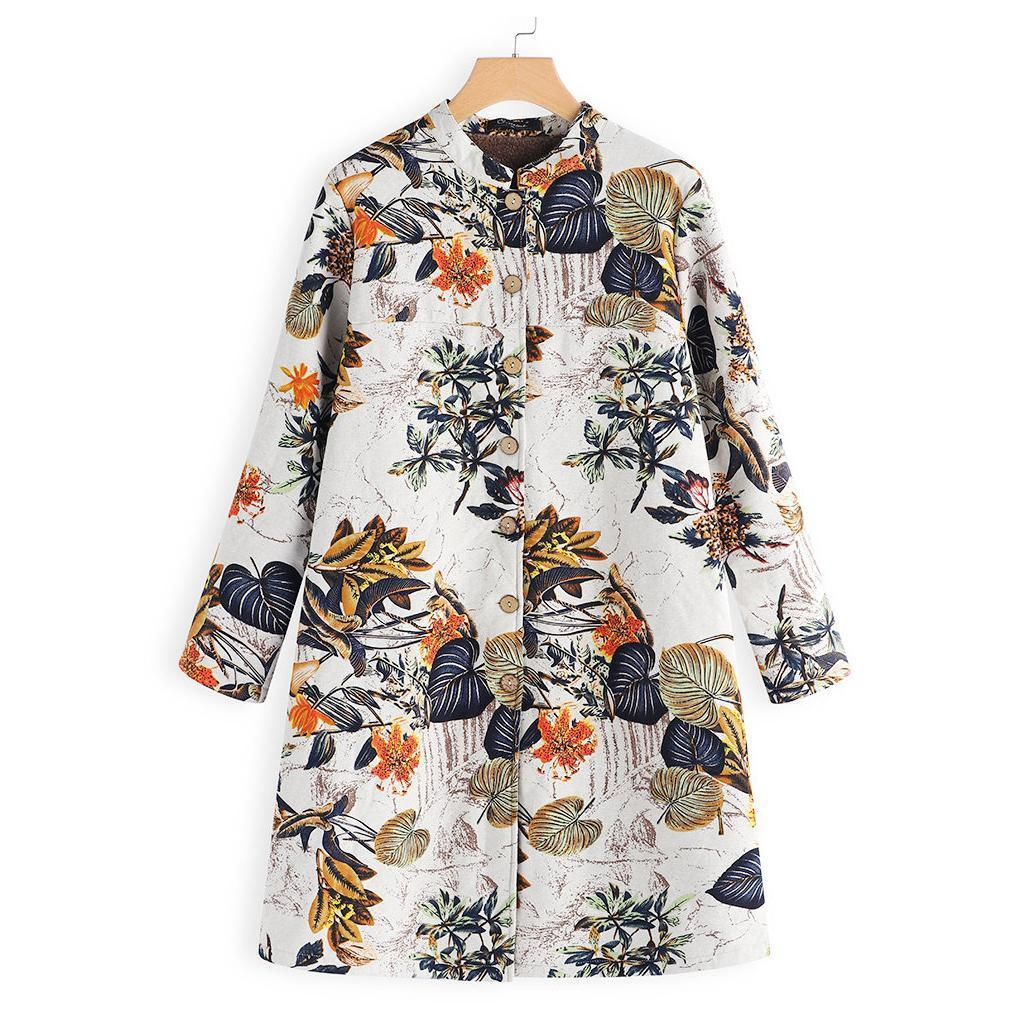 Retro Floral Printed Long Sleeves Oversize Low Collar Coat Red 3xl