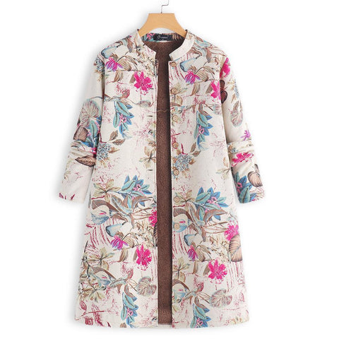 Image of Retro Floral Printed Long Sleeves Oversize Low Collar Coat Red l