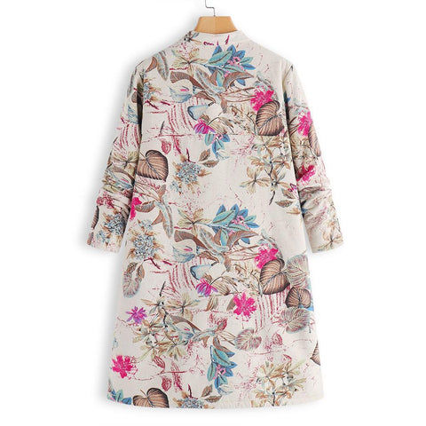 Image of Retro Floral Printed Long Sleeves Oversize Low Collar Coat Red xl