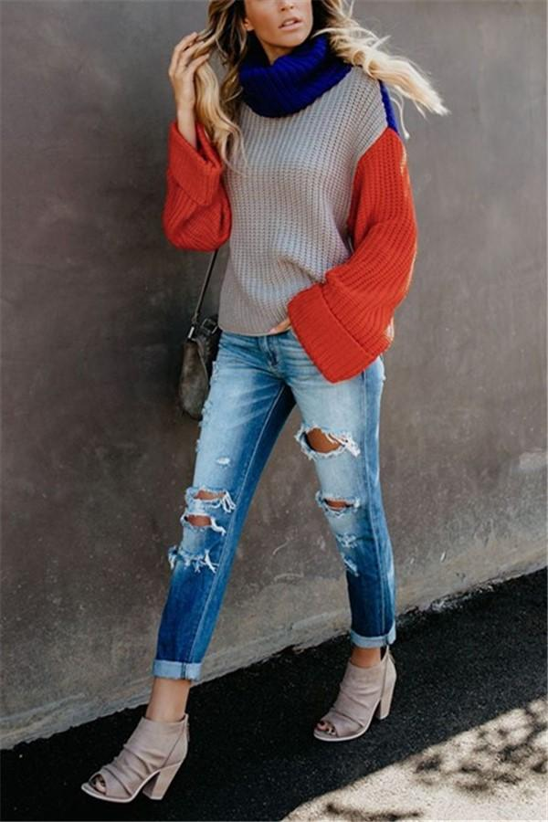 Fashion Casual Color Matching High Neck Knit Sweater Gray s