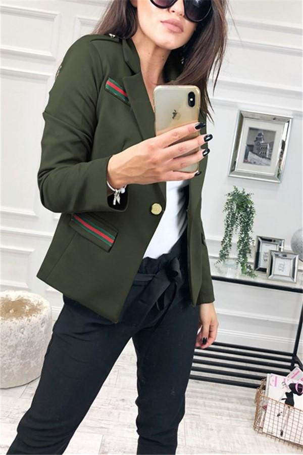 Fashion Casual Slim Trim And Splice Small Suit Jacket With Lapels Army Green s