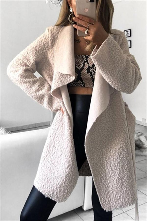Fashion Casual Pure Color Slim Irregular Lapel Coat White s