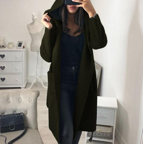 Image of Fashion Casual Hat Baggy Medium Length Duffel Coat With Belt Army Green s