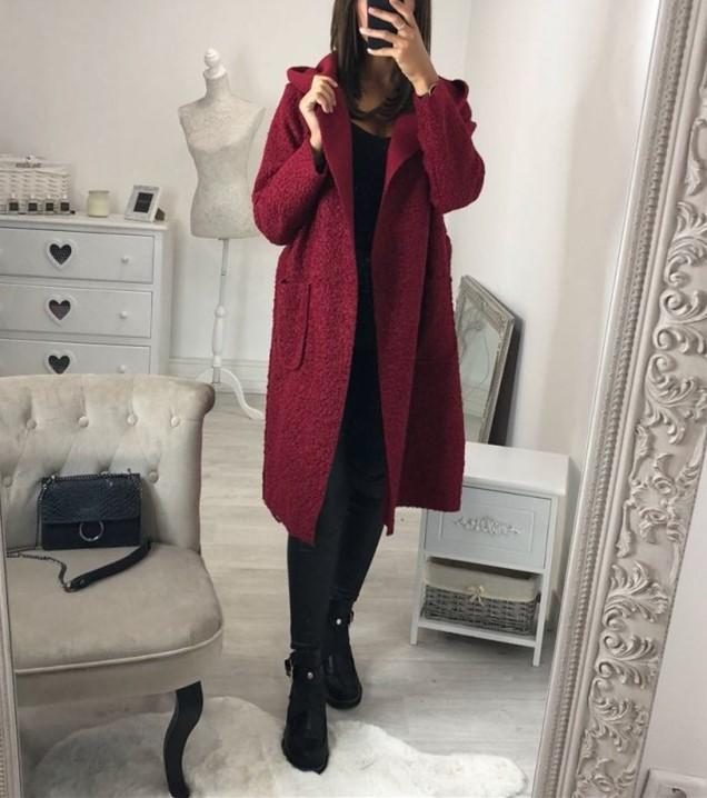 Fashion Casual Hat Baggy Medium Length Duffel Coat With Belt Claret m