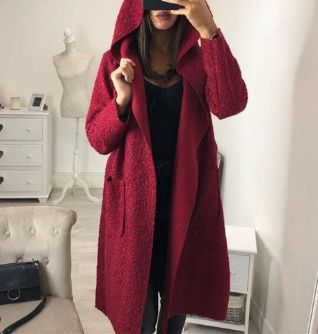 Image of Fashion Casual Hat Baggy Medium Length Duffel Coat With Belt Claret s