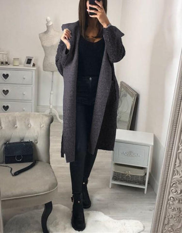 Image of Fashion Casual Hat Baggy Medium Length Duffel Coat With Belt Dark Grey l