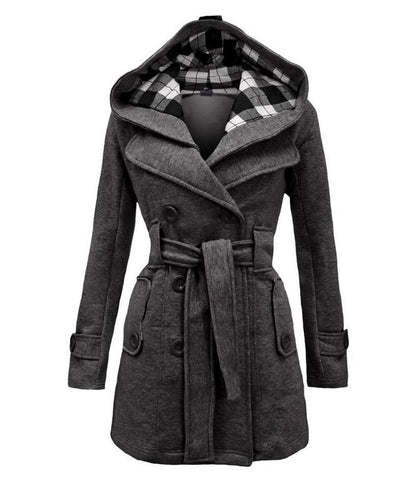 Image of Fashion Casual Slim Woolen Long Coat Double Breasted Thickened Glengarry Coat Dark Grey m