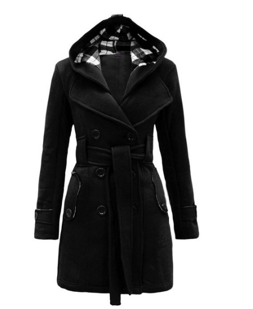 Fashion Casual Slim Woolen Long Coat Double Breasted Thickened Glengarry Coat Dark Grey 2xl