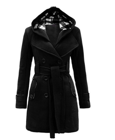 Image of Fashion Casual Slim Woolen Long Coat Double Breasted Thickened Glengarry Coat Dark Grey 2xl