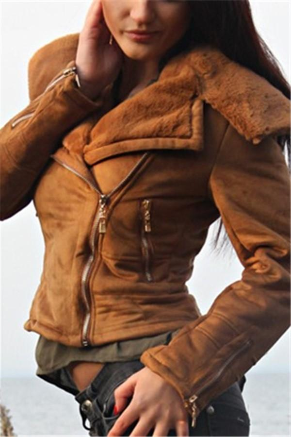 Fashion Casual Slim Sexy Short Leather Fleece Jacket Brown s