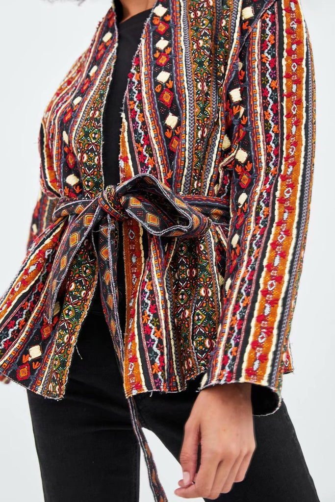 Fashion Casual Sash Ethnic Style Kimono Coats Same As Photo l