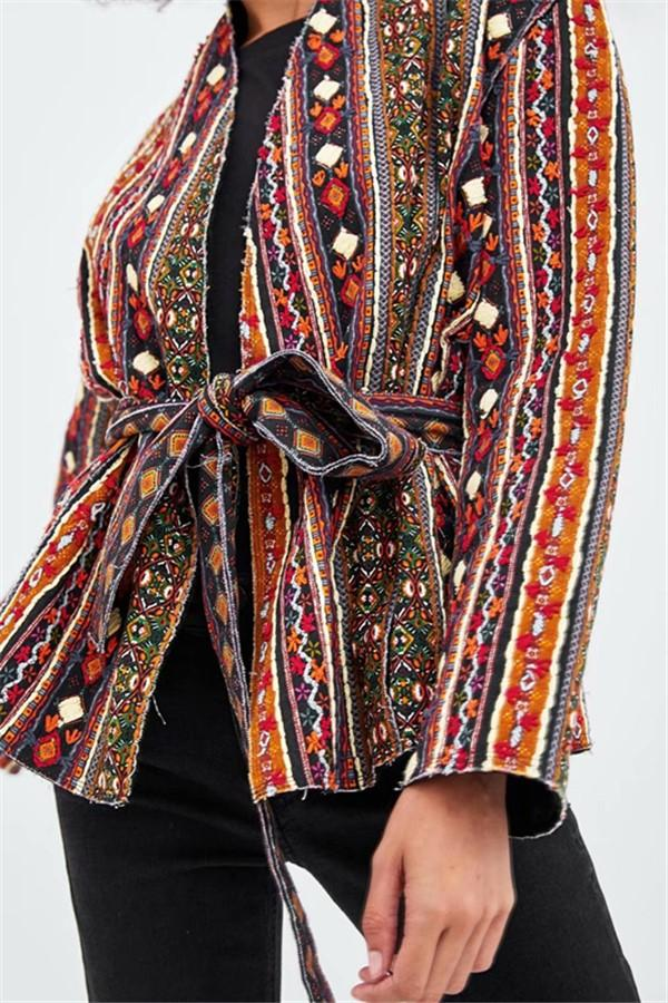 Fashion Casual Sash Ethnic Style Kimono Coats Same As Photo m