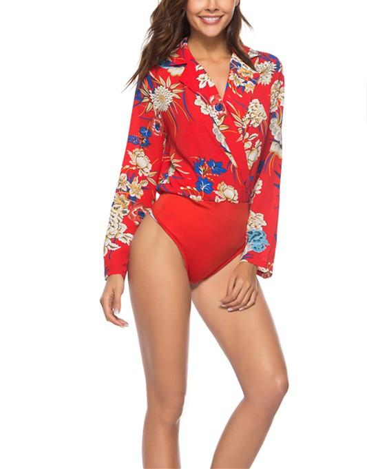 Fashion Casual Sexy Printed Jumpsuit Shirt Red s