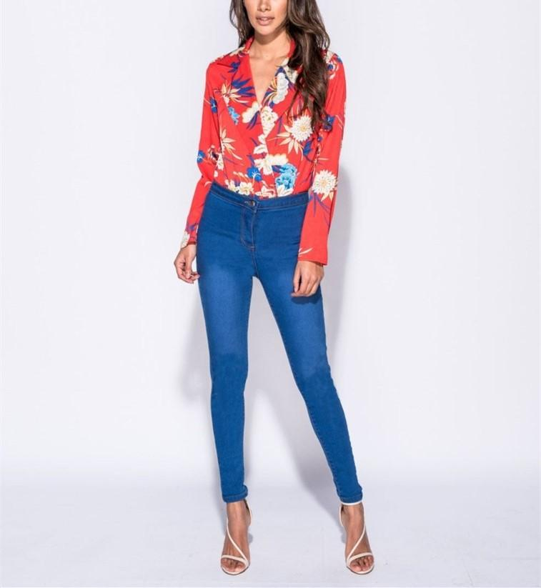 Fashion Casual Sexy Printed Jumpsuit Shirt White l