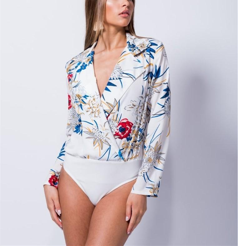 Fashion Casual Sexy Printed Jumpsuit Shirt White m
