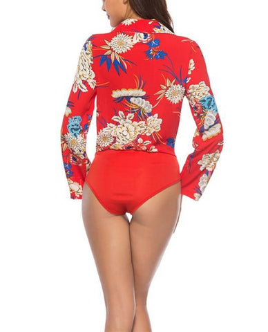 Image of Fashion Casual Sexy Printed Jumpsuit Shirt Red l
