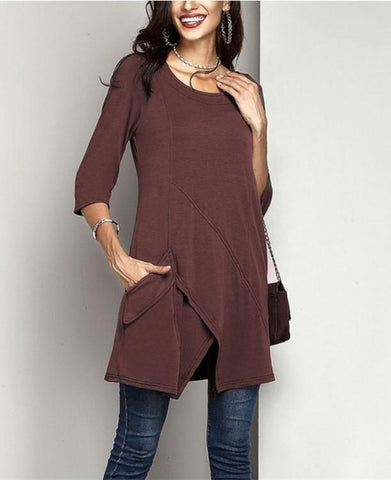 Image of Fashion Casual Pure  Color Mid Sleeved Irregular Large Size T Shirt Jacket Claret m