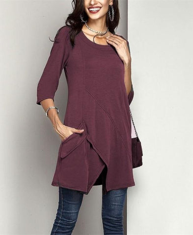 Image of Fashion Casual Pure  Color Mid Sleeved Irregular Large Size T Shirt Jacket Claret xl