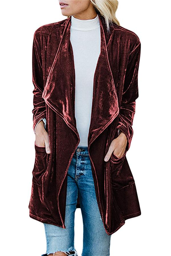 Fashion Casual Pure Color Long Windbreaker With Golden Fleece Coat Claret l