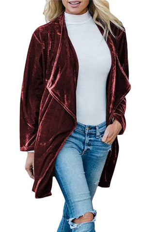 Image of Fashion Casual Pure Color Long Windbreaker With Golden Fleece Coat Claret m