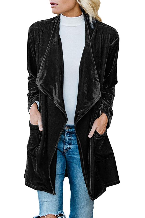 Fashion Casual Pure Color Long Windbreaker With Golden Fleece Coat Black l