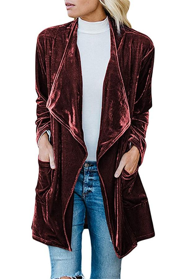 Fashion Casual Pure Color Long Windbreaker With Golden Fleece Coat Claret s