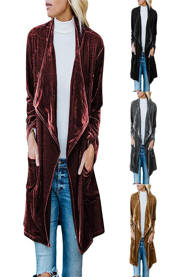 Fashion Casual Pure Color Long Windbreaker With Golden Fleece Coat Claret xl