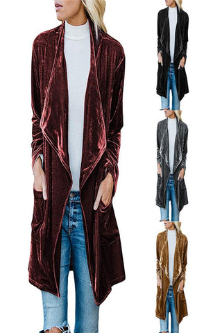 Image of Fashion Casual Pure Color Long Windbreaker With Golden Fleece Coat Claret xl