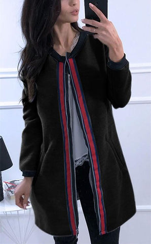 Image of Fashion Casual Splice Colored Ribbon Vest Jacket Coat Black s