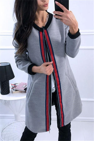 Image of Fashion Casual Splice Colored Ribbon Vest Jacket Coat Gray s